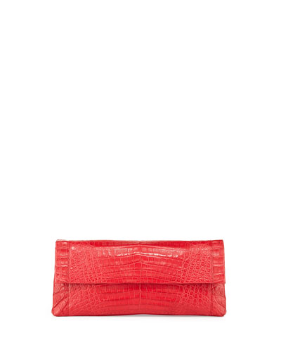 Gotham Crocodile Flap Clutch Bag, Red Matte