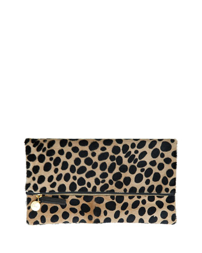 Leopard-Print Fur Clutch Bag