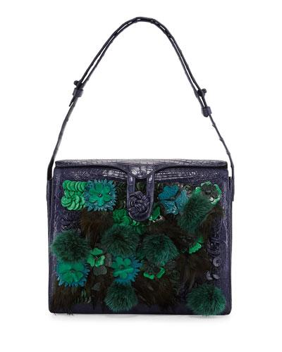 Crocodile Embellished Shoulder Bag, Navy/Green