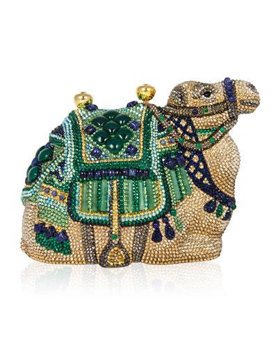Sodalite & Green Onyx Crystal Camel Clutch Bag, Champagne Multi