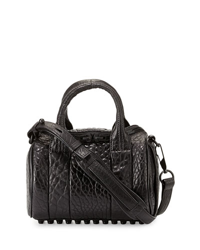 Mini Rockie Leather Satchel Bag, Black