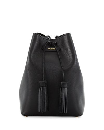 Leather Double-Tassel Medium Bucket Bag, Black