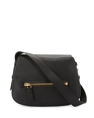 Jennifer Medium Leather Shoulder Bag, Black