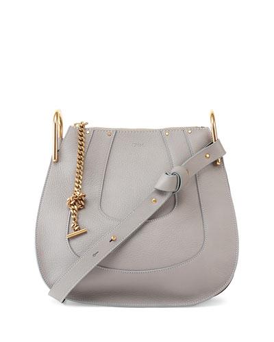 Hayley Small Leather Hobo Bag, Gray