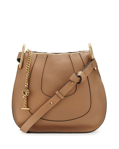 Hayley Small Leather Hobo Bag, Nut