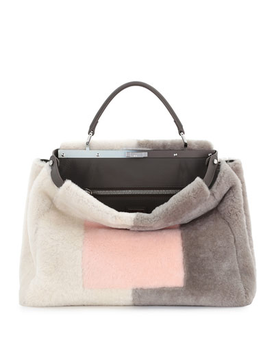 Peekaboo Large Shearling Satchel Bag, Pink/White/Gray