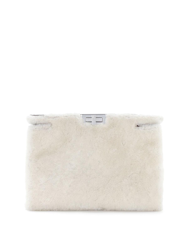 Peekaboo Shearling Fur Clutch Bag, White