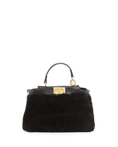 Peekaboo Micro Shearling Fur Satchel Bag, Black