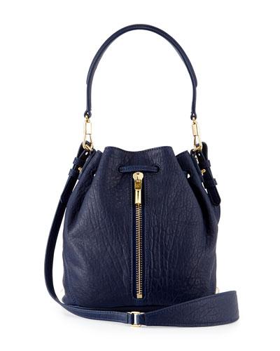 Cynnie Mini Large-Grain Bucket Bag, Dark Denim