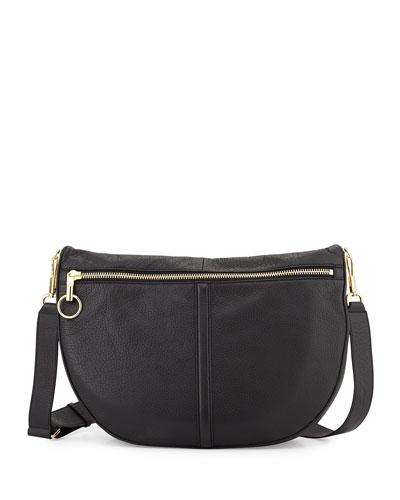 Scott Leather Half-Moon Shoulder Bag, Black