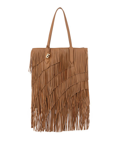 Scott Fringed Leather Tote Bag, Camel