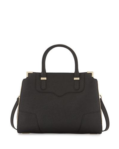 Amourous Saffiano Satchel Bag, Black
