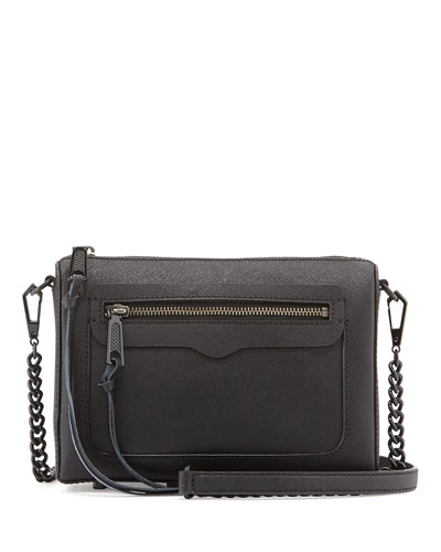 Avery Saffiano Crossbody Bag, Black