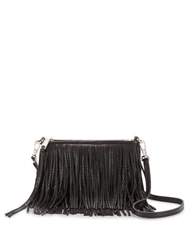 Finn Leather Fringe Crossbody Bag, Black
