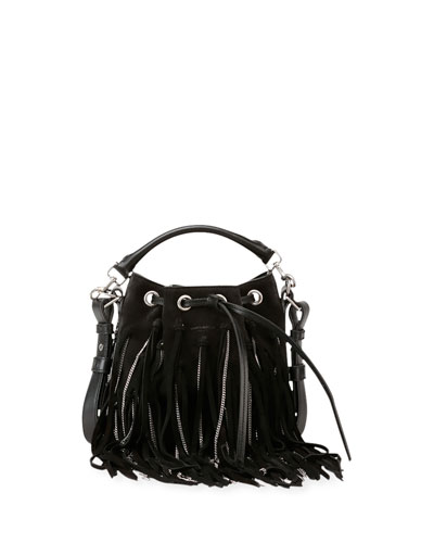 Emmanuelle Small Suede Fringe Bag, Black
