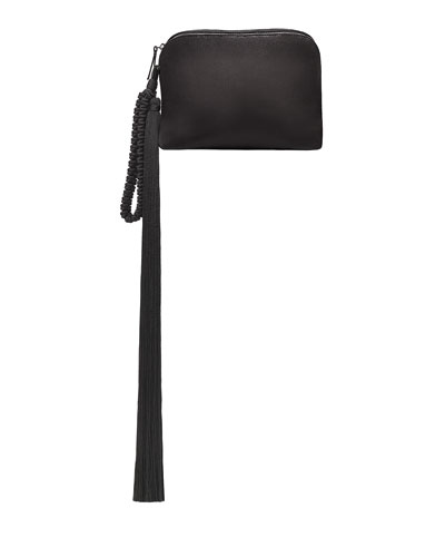Satin Tassel Detail Wristlet Bag, Black