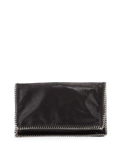 Falabella Fold-Over Evening Clutch Bag, Black