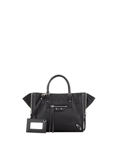 Papier A4 Mini Leather Tote Bag, Rouge Aubergine