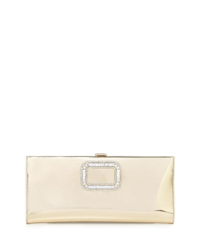 Pilgrim Crystal-Buckle Clutch Bag, Gold Mirror