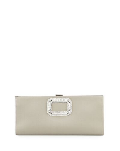 Pilgrim Strass-Buckle Satin Clutch Bag, Pearl