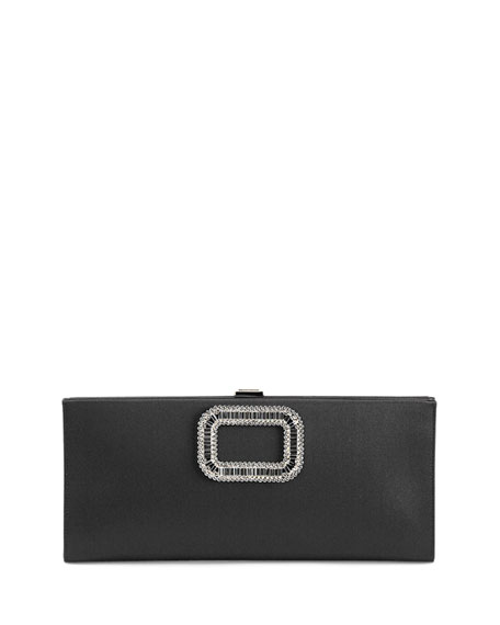 Roger Vivier Pilgrim Strass-Buckle Satin Clutch Bag, Black
