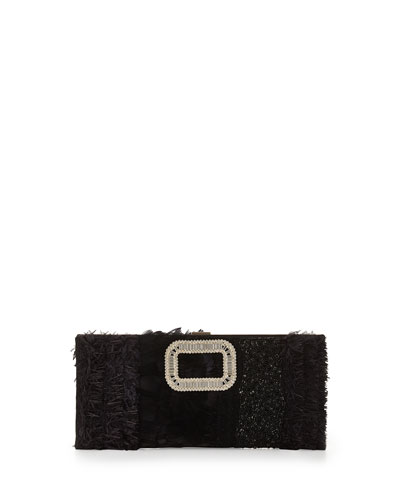 Pilgrim Small Feather & Bead Embellished Clutch Bag, Black
