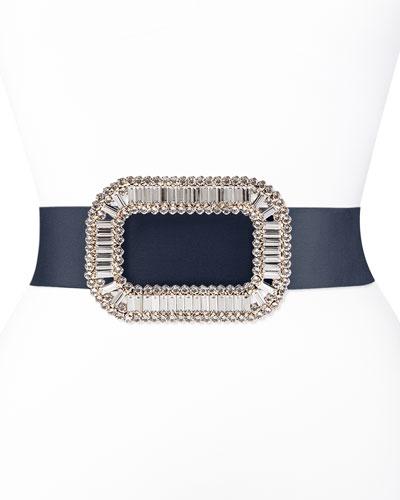 Pilgrim Crystal-Buckle Belt, Navy