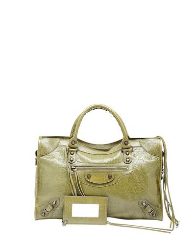 Classic City Crinkle Calf Bag, Olive Green