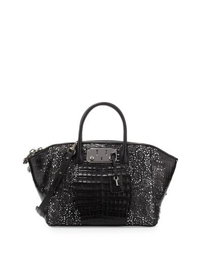Brera 32 Lace-Cut Crocodile Satchel Bag, Black/White