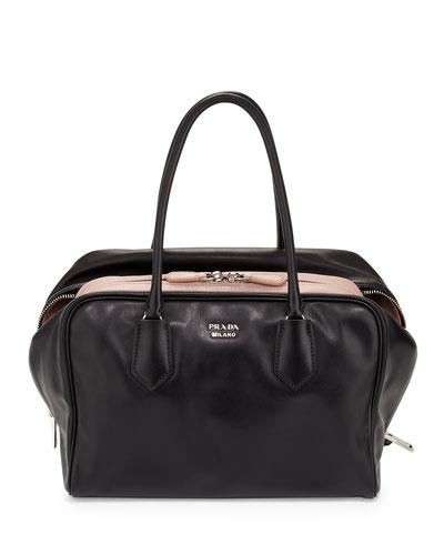 Large Soft Calf Inside Bag, Black/Pale Pink (Nero+Mughetto)