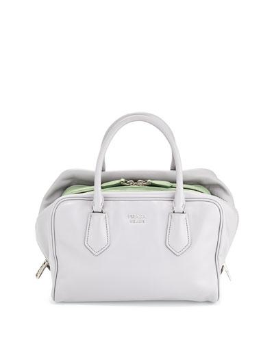 Medium Soft Calf Inside Bag, Gray/Aqua Green (Granito+Acquamarina)