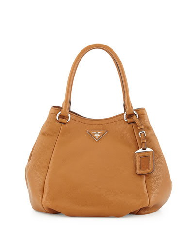 Vitello Daino Small Satchel Bag, Tan (Cannella)