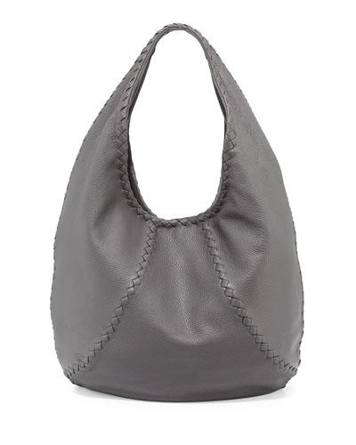 Cervo Large Hobo Bag, New Light Gray