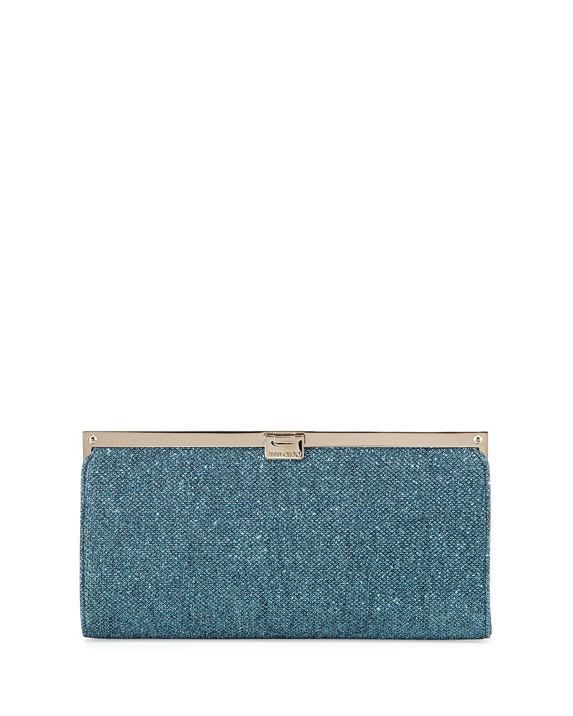 Camille Metallic Frame Clutch Bag, Ocean Blue