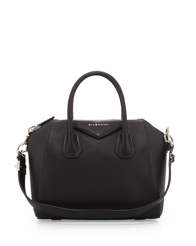 Antigona Small Leather Satchel Bag, Black
