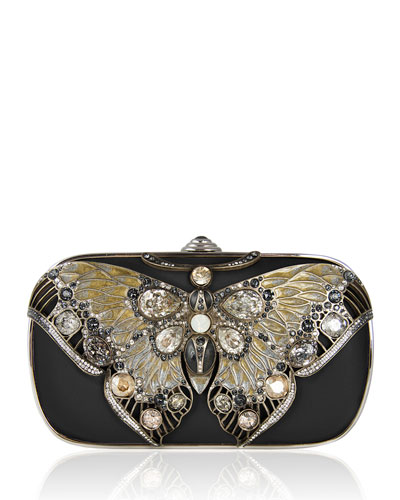Soft-Sided Rectangle Clutch With Butterfly, Black