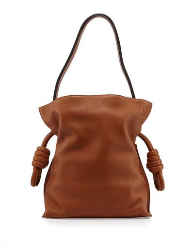 Flamenco Small Knot Bucket Bag, Tan