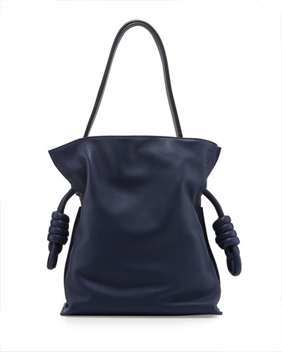 Flamenco Small Knot Bucket Bag, Navy