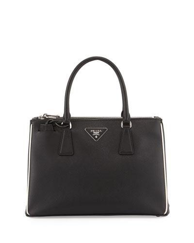 Saffiano Small East-West Tote Bag, Black (Nero)