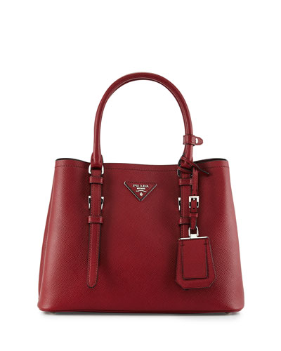 Small East-West Saffiano Tote Bag, Red (Ceris)