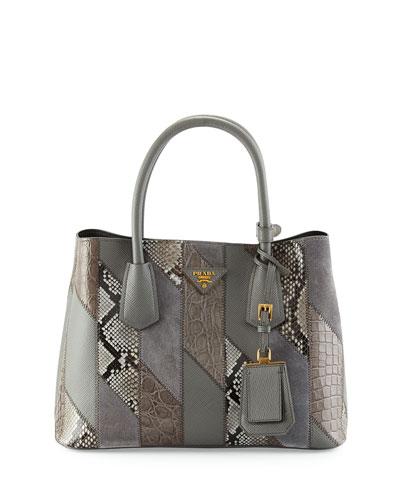 Small Python/Leather/Crocodile Tote Bag, Gray (Marmo)