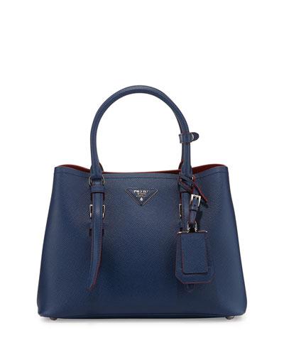 Small East-West Saffiano Tote Bag, Blue (Bluette)