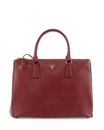 Saffiano Lux Double-Zip Tote Bag, Red (Cerise)
