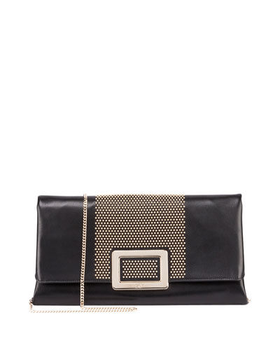 Ines Small Studded Clutch Bag, Black