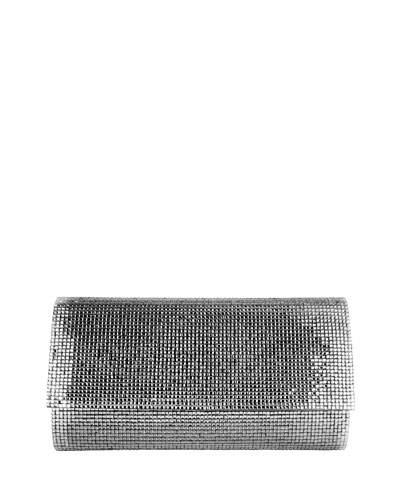 Manhattan Crystal Clutch Bag, Silver Chrome