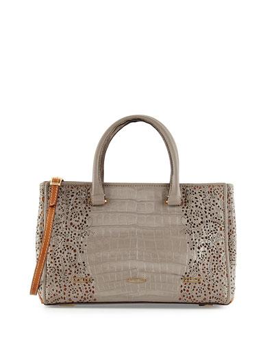 Pandora Demi Lace-Cut Crocodile Satchel Bag