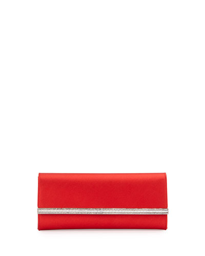 Tuxedo Crystal-Trim Satin Clutch Bag, Red/Silver