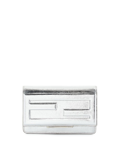 Small Leather Tube Wallet-on-a-Chain, Silver
