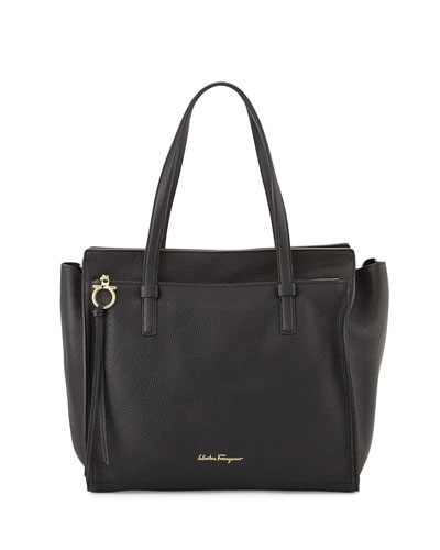 Large Leather Tote Bag, Nero