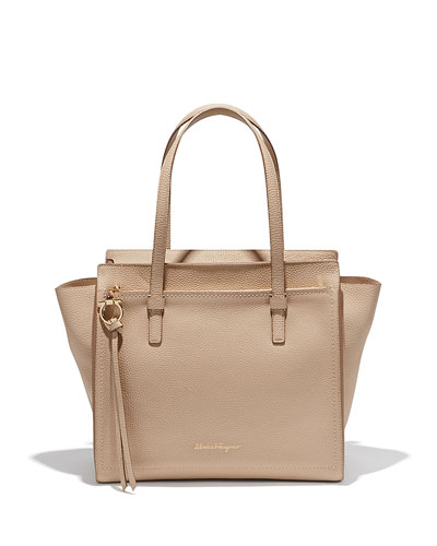 Amy Medium Leather Tote Bag, New Bisque